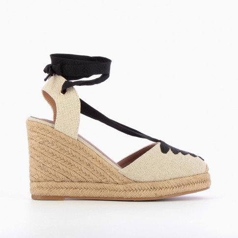 Beige lace-up espadrille wedges