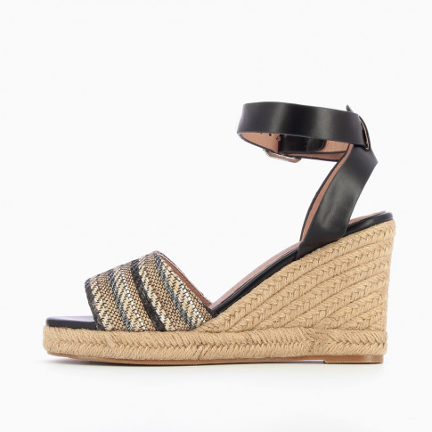 Black wedge sandals with braided straps