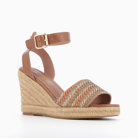 Camel and orange wedge sandals with braided straps