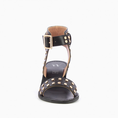 Black studded faux leather sandals with large strap