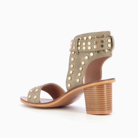 Khaki green studded suedette sandals with large strap