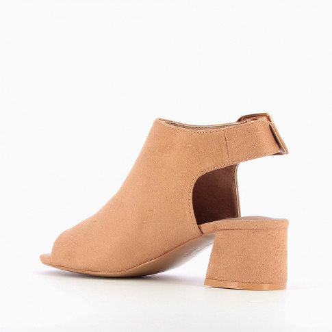 Bottines à talon peep-toe en suédine rose