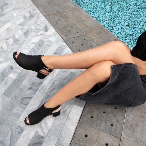 Black suedette peep-toe ankle boots with heel