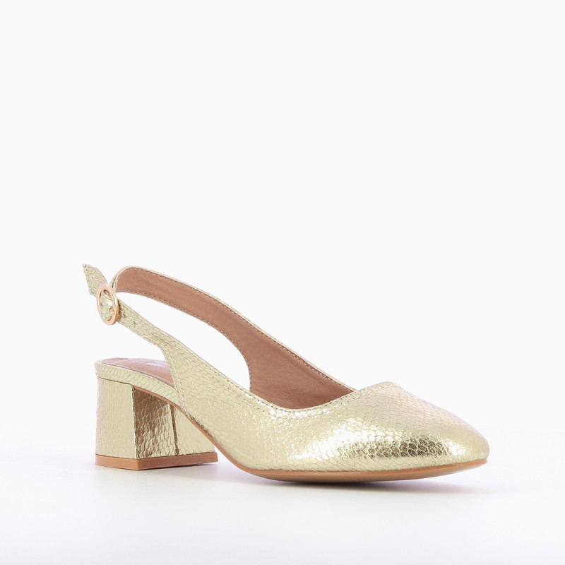 5da52853595 Gold heeled Mary Janes with snakeskin effect - Vanessa Wu Store