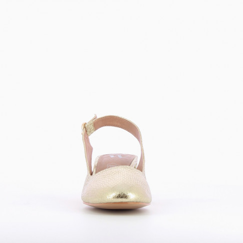 Gold heeled Mary Janes with snakeskin effect