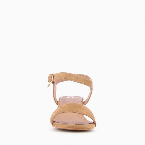 Camel sandals with thick low heel