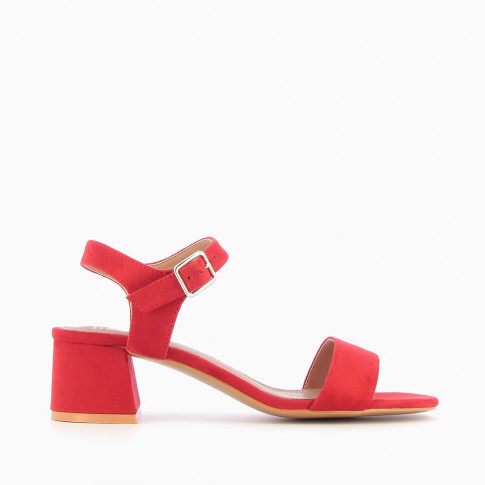 Red sandals with thick low heel