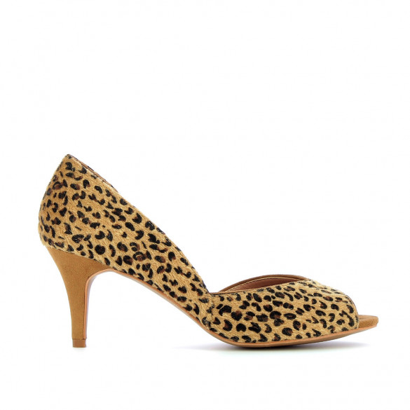 Leopard peep-toe pumps with indentation