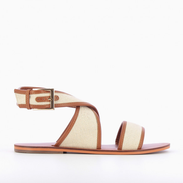 Beige and camel woven cavas sandals