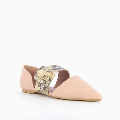 Pink pointed-toe ballet flats with python buckle