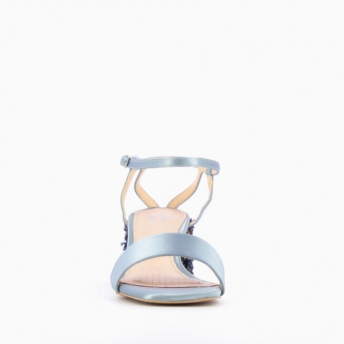 Blue satin sandals with fantasy heel