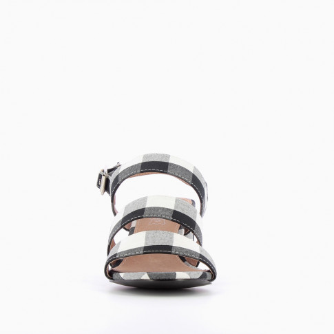 Gingham three strap sandals with heel