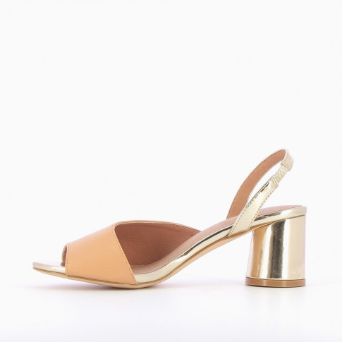 Gold sandals with nude asymmetrical strap