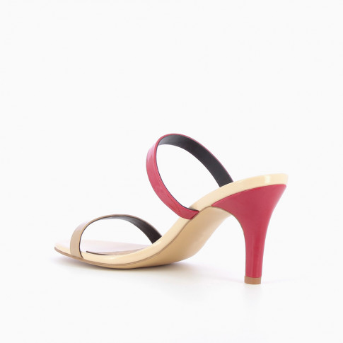 Beige and red mules with heel