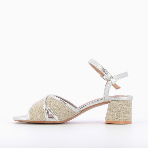Silver canvas sandals with heel