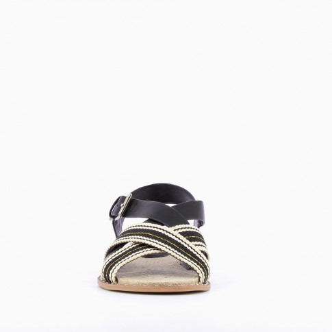 Black sandals with tennis stripes