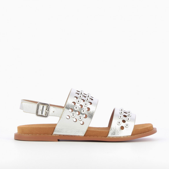 Awled and studded silver sandals