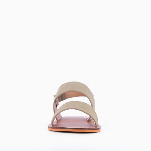 Khaki green suedette sandals with large straps
