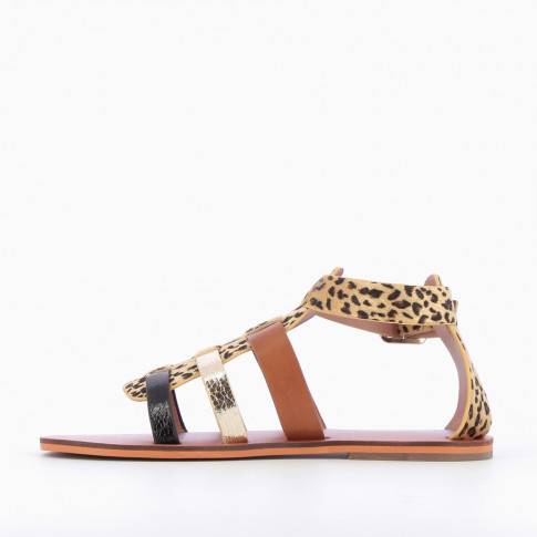 Multicoloured gladiators with leopard central strap