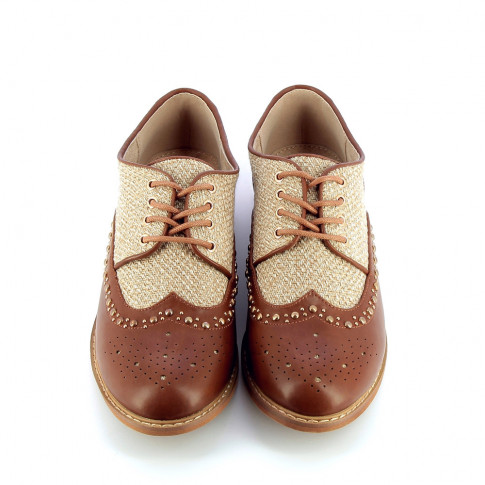 Tweed effect brogues with camel-coloured toe