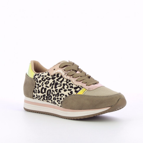 Khaki and leopard-print sneakers with striped sole