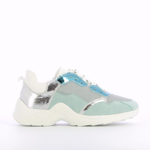 Sneakers with multiple white and blue yokes