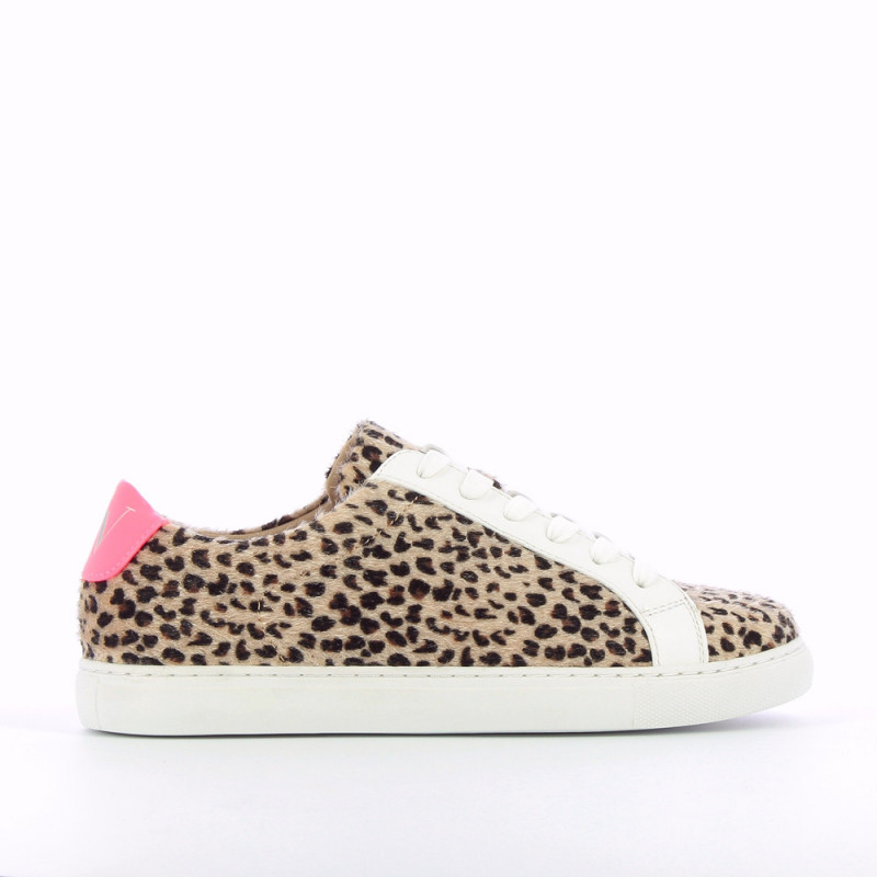 Leopard-print sneakers with neon pink