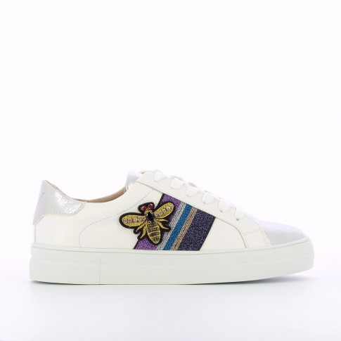 White and silver sneakers with bee-shaped jewelry