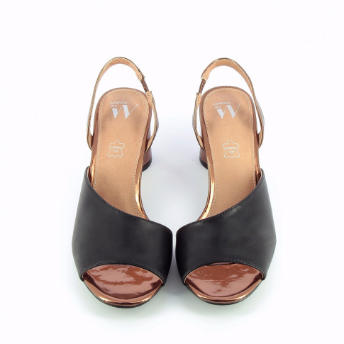 Bronze sandals with nude asymmetrical strap