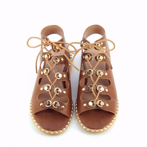 Camel lace-up faux leather gladiators