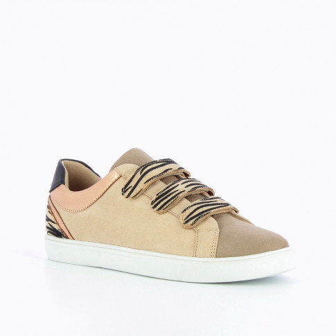 Beige and rose gold sneakers with zebra velcro