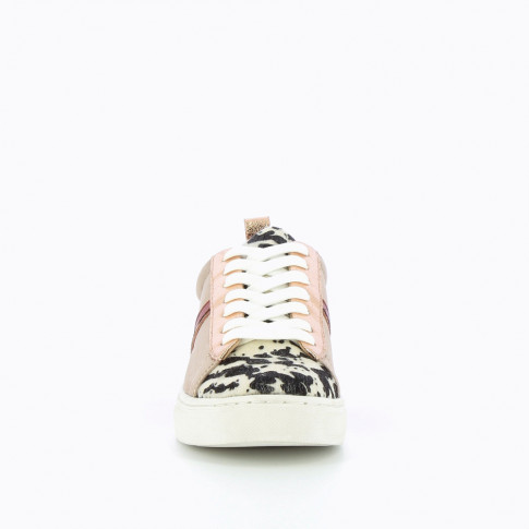 Taupe sneakers with cow-print detailing