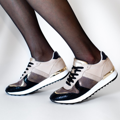 Black and beige sneakers with charcoal yokes