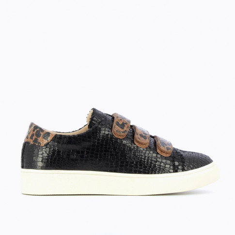 Black crackled effect sneakers with animal-print velcro