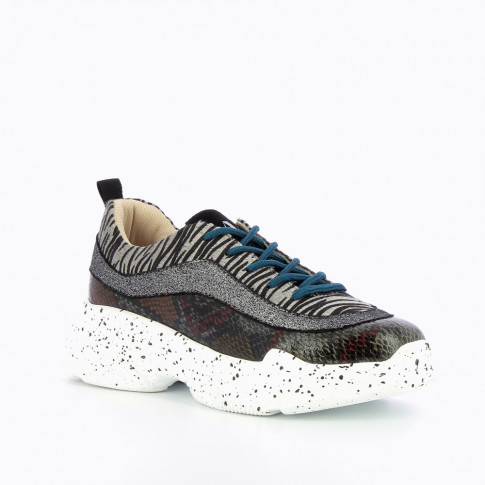 Gray sneakers with overlaid animal prints