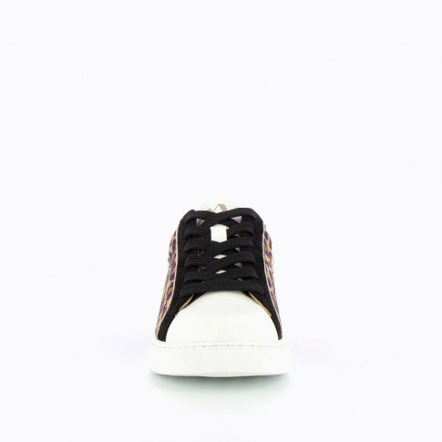 Black sneakers with geometric yokes