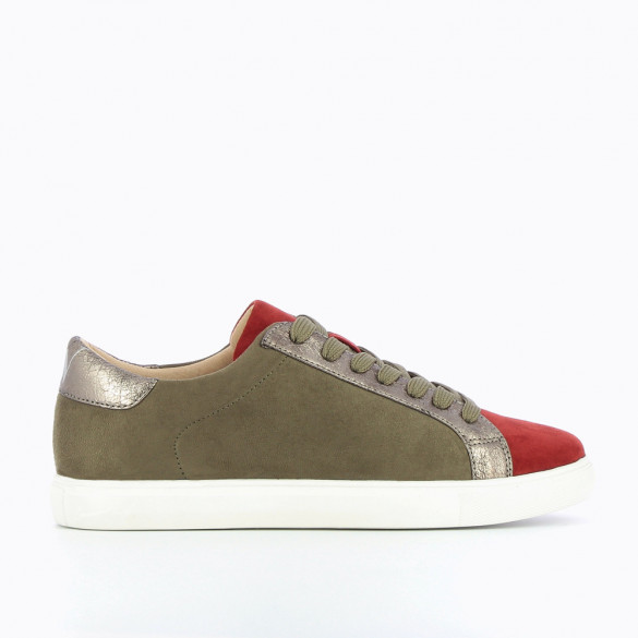 Army green and rust-coloured suedette sneakers
