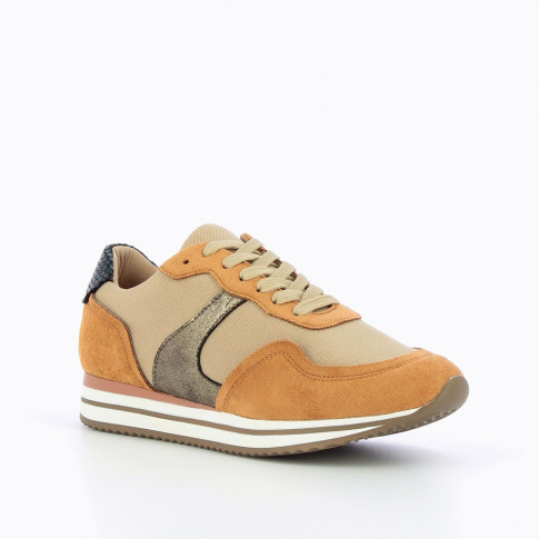 Camel sneakers with striped sole