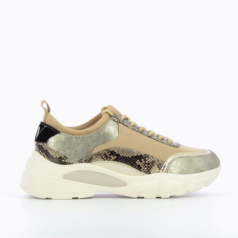 Beige sneakers with integrated tongue
