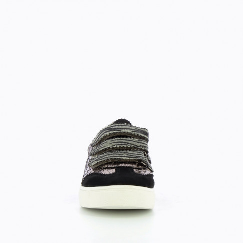 Silver crackled effect sneakers with zebra velcro