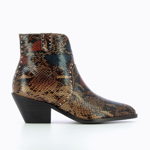 Bottines santiags camel effet serpent