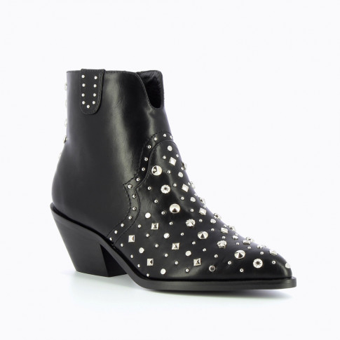 Black cowboy ankle boots with fantasy studs