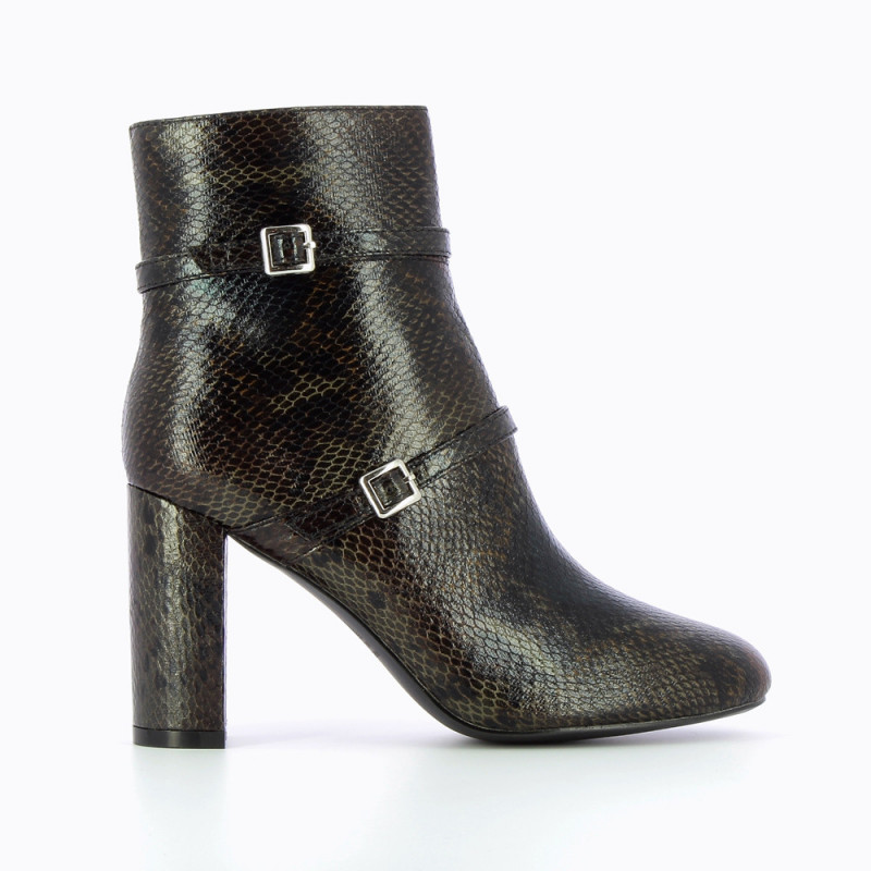 snakeskin heeled ankle boots