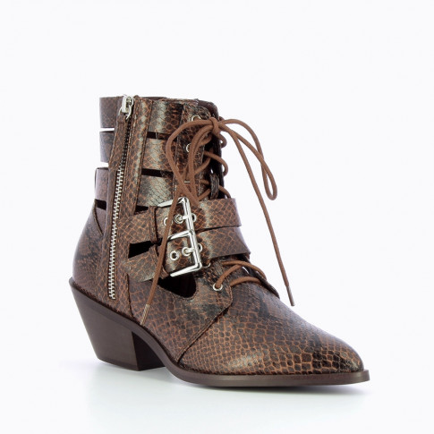 Taupe snakeskin openwork ankle boots