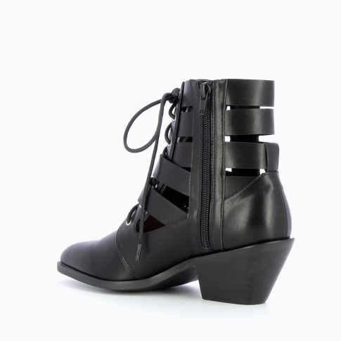 Black faux leather openwork ankle boots