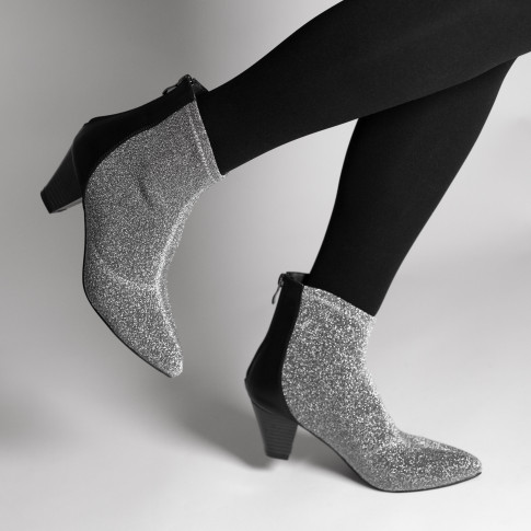 Silver sparkle sock-boots