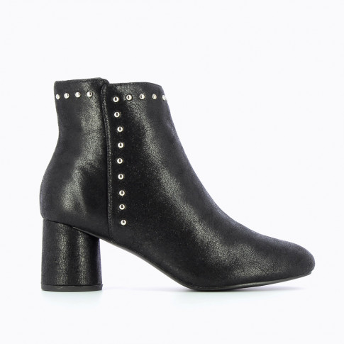 Bottines noires à talon rond