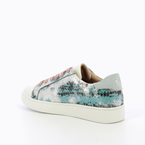 Blue and silver sneakers with python effect