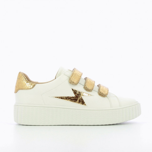 White lightning sneakers with gold velcro