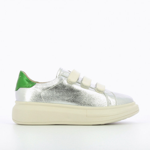 Silver sneakers with extra-large sole
